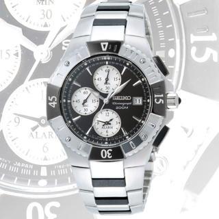 SEIKO 深海探險家兩地時間錶(黑)