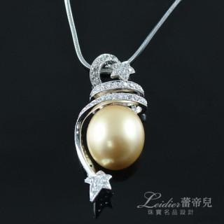 【蕾帝兒珠寶】-華麗風采金色貝珠墜鍊