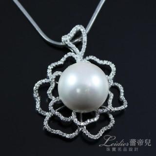 【蕾帝兒珠寶】-花情白色貝珠墜鍊