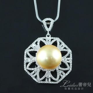 【蕾帝兒珠寶】-完美光輝金色貝珠墜
