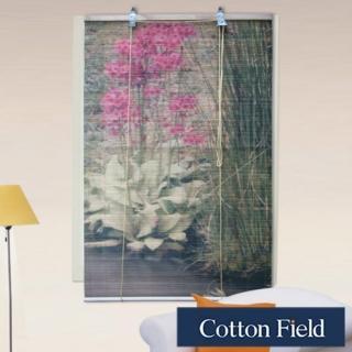 棉花田(花卉)彩色天然竹捲簾(120x160cm)