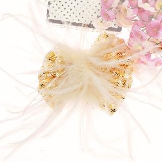 【Lady c.c.】羽毛光彩亮片造型舞台髮夾(白)