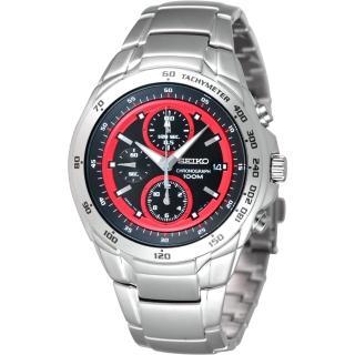SEIKO 緊急任務三眼計時腕錶 (7T92-0HE0R)-黑/紅