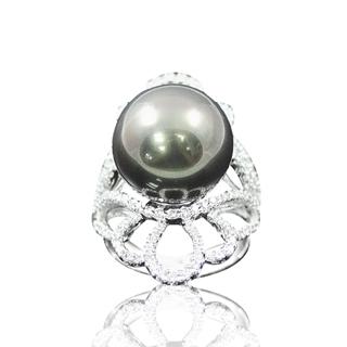 【蕾帝兒珠寶】-香戀黑色深海貝殼珍珠戒指