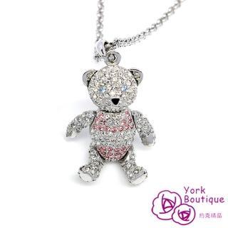 【約克精品】可愛小熊施華洛世奇元素晶鑽包銠金項鍊(SGS認證)