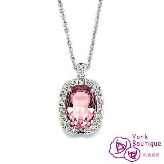 【約克精品】Pink Lady施華洛元素晶鑽包銠金項鍊(SGS認證)