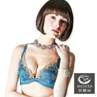 【貝麗絲】側壓深V炫彩花紋內衣(青藍_BC)