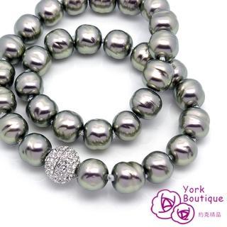 【約克精品】變型黑琉璃珍珠施華洛世奇元素晶鑽包銠金項鍊(SGS認證)