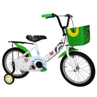 【Adagio】16吋酷樂狗打氣胎童車附momo拍賣置物籃(綠色)