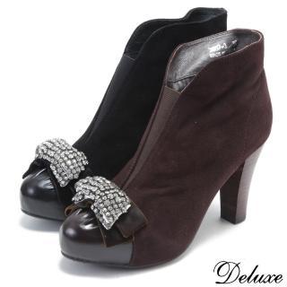 【☆Deluxe☆】魅力甜心-水鑽蝴蝶羊麂皮厚底高跟踝鞋(★咖★黑)