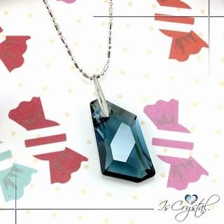 【伊飾晶漾】海藍菱型純銀項鍊