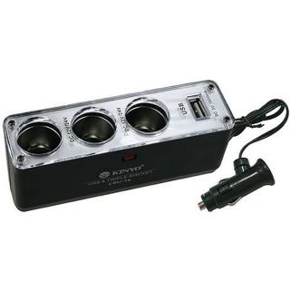 【KINYO】3孔點煙器擴充座+USB充電槽(CRU-16)