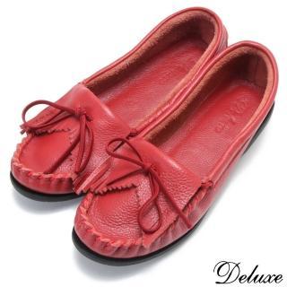 【☆Deluxe☆】氣質通勤~進口全真皮蝴蝶結舒適簡約平底鞋(★紅)