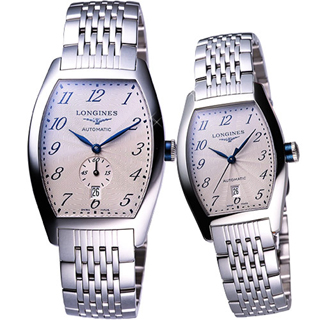 【LONGINES Evidenza 】藝術酒桶型對錶(L26424736+L21424736)
