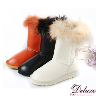 【☆Deluxe☆】雪國天使-暖暖狐狸毛全真皮厚底中統靴(★黑★橘★米白)