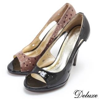 【Deluxe】真皮亮面性感洞洞魚口高跟鞋(咖☆黑)