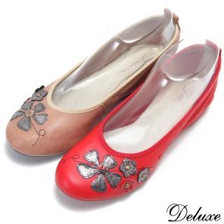 【☆Deluxe☆】輕甜系列-全真皮圓頭閃亮小花平底娃娃鞋(★咖★紅)