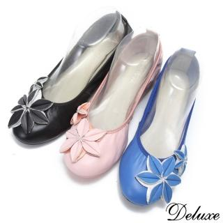 【☆Deluxe☆】輕甜系列-全真皮星星花型可彎曲平底娃娃鞋(★粉★黑★藍)