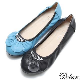 【☆Deluxe☆】輕甜系列-真皮可愛花瓣燙鑽平底娃娃鞋(★藍)