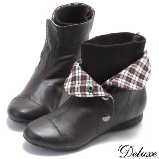 【Deluxe】經典羊皮2way反折格紋暗釦襪套短靴(深咖)