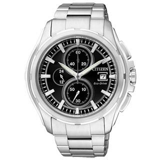 【CITIZEN】追風騎士光動能三環腕錶(鋼帶-銀黑 CA0270-59F)