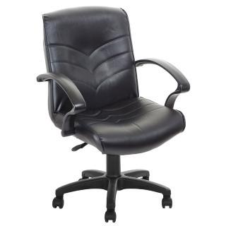 【吉加吉】低背箭紋 皮椅電腦椅 TW-1007(黑色)