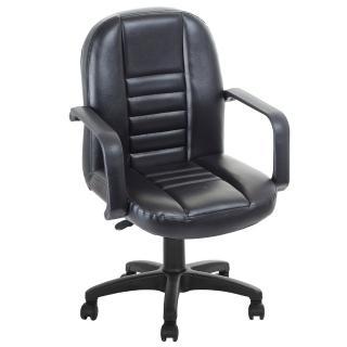 【吉加吉】短背方條 皮椅電腦椅 TW-1023(黑色)