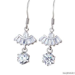 【E&I】-風華再現- 1.3克拉八心八箭垂吊式美鑽耳環