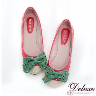 【☆Deluxe☆】甜心好女孩-鉚釘大蝴蝶結拼接麻編娃娃鞋★二色