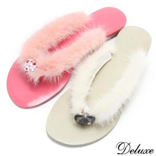 【☆Deluxe☆】夏日精靈-真皮+柔軟貂毛水晶夾腳涼鞋★二色