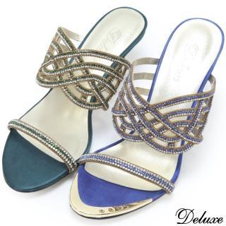 【Deluxe】全真皮巴黎名媛優雅水鑽美型跟涼跟鞋(藍、綠)