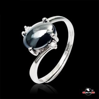 【HEMA KING】925純銀 瑞麗美人黑膽戒指