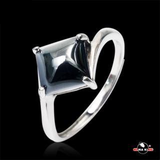 【HEMA KING】HEMA KING 925純銀 絕對菱度黑膽戒指