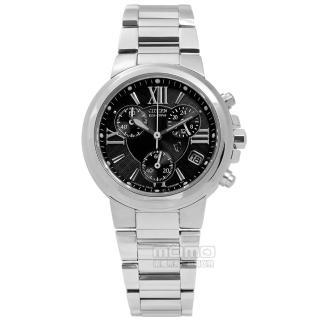 【CITIZEN】XC 電波光動能藍寶石水晶不鏽鋼手錶 咖啡x鍍玫瑰金 27mm(ES5013-53W)