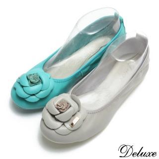 【Deluxe】全真皮柔軟羊皮薔薇花型平底娃娃鞋(灰-藍-黑)
