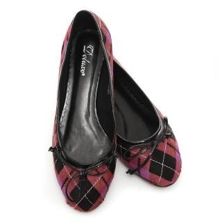 【Deluxe】英倫甜心.真皮mix馬毛經典菱格紋平底娃娃鞋(紫紅)