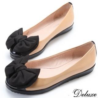 【Deluxe】粉領優雅.頂級漆皮雙色拼接蝴蝶平底包鞋(★米)