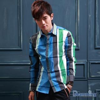 【Dreamming】美式經典大格紋壓釦長袖襯衫(共三色)