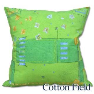 【棉花田】花園純棉印花抱枕-綠(60x60cm)