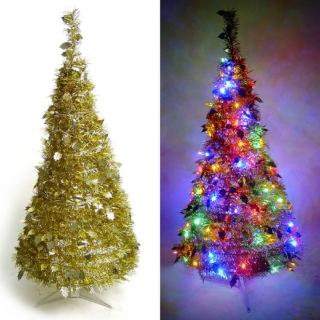 【聖誕裝飾特賣】4尺/4呎(120cm) 創意彈簧摺疊聖誕樹 (金色系)+LED100燈串(9光色可選)