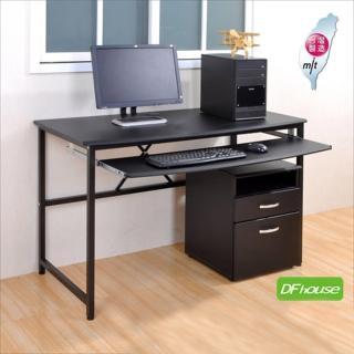 《DFhouse》艾力克多功能電腦桌+檔案櫃-120CM(黑色)