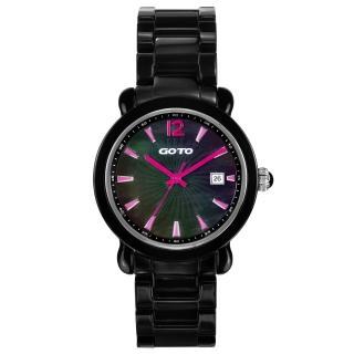 【GOTO】躍動元素時尚陶瓷腕錶(黑粉紅 GC0167M-33-VF1)