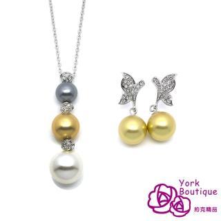 【約克精品】經典貴婦施華洛元素琉璃珍珠項鍊耳環熱賣組(SGS認證)