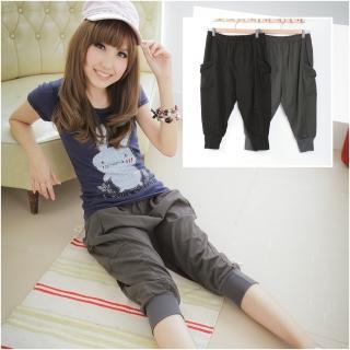 【衣心衣意中大尺碼】流行風尚-彈性腰圍口袋棉質休閒褲(黑-灰SP1A3036)