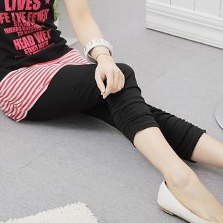 【衣心衣意中大尺碼】必備單品 -四面彈力褲管抽褶內搭褲(黑SC3A3057)