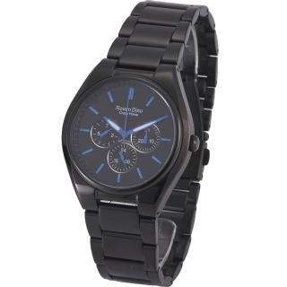 【RD 羅梵迪諾】極光炫風三眼黑鋼腕錶-藍/40mm(9803MB-436)