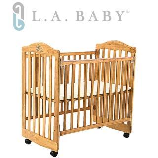 【美國 L.A. Baby】蒙特維爾美夢熊小床嬰兒床/實木/原木床(原木色/白色適用育嬰 託嬰中心)