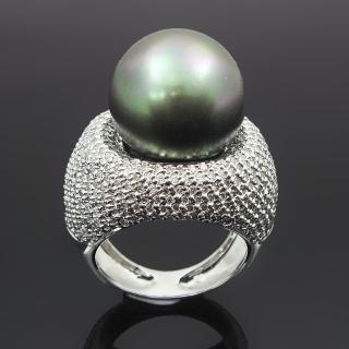 【蕾帝兒名品-】濃情黑色貝殼珍珠戒
