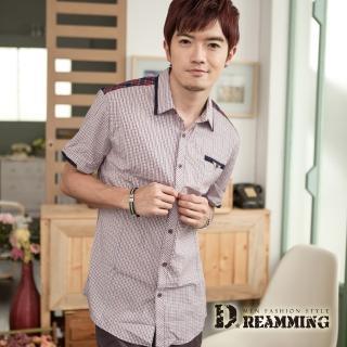 【Dreamming】韓風拼接細格紋短袖襯衫(共二色)