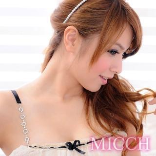 【MICCH】台灣製 鑽圈圈閃耀捷克鑽石肩帶(百搭黑織帶)